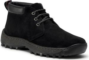 Czarne buty zimowe eobuwie.pl sznurowane
