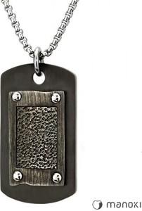 Manoki WA289 czarny nieśmiertelnik na srebrnym łańcuszku