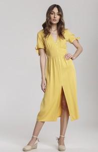 Żółta sukienka Renee z krótkim rękawem midi