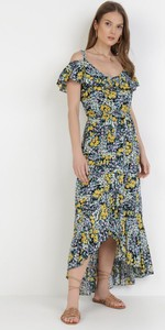 Sukienka born2be asymetryczna z krótkim rękawem