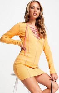 Pomarańczowa sukienka Public Desire z długim rękawem z dekoltem w kształcie litery v mini
