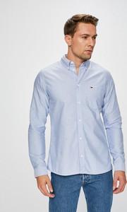 Niebieska koszula Tommy Jeans z tkaniny z kołnierzykiem button down