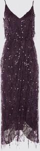 Fioletowa sukienka Trendyol maxi z dekoltem w kształcie litery v