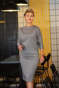 Sukienka Studio Borycka midi z długim rękawem