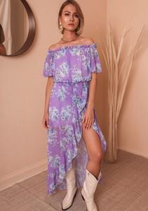 Granatowa sukienka Latika maxi z krótkim rękawem