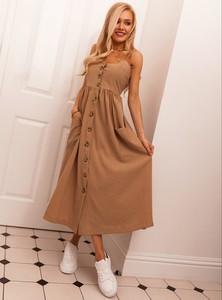 Brązowa sukienka SELFIEROOM z bawełny szmizjerka
