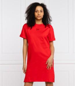 Czerwona sukienka Hugo Boss mini z okrągłym dekoltem prosta