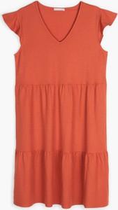 Pomarańczowa sukienka Gate z dekoltem w kształcie litery v mini w stylu casual