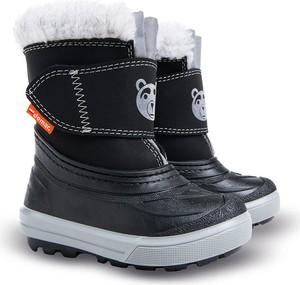 e7d614d30a291 Czarne buty dziecięce zimowe Demar z wełny na rzepy