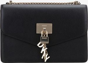 Czarna torebka DKNY ze skóry średnia z breloczkiem