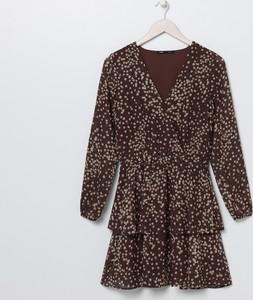 Brązowa sukienka Sinsay z dekoltem w kształcie litery v mini