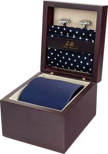 Zestaw ślubny dla mężczyzny klasyczny w kolorze granatowym: krawat + poszetka + spinki zapakowane w pudełko EM 24