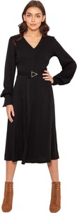 Czarna sukienka Lanti z tkaniny z długim rękawem