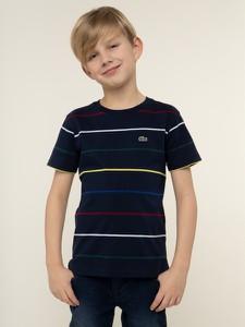 Koszulka dziecięca Lacoste z krótkim rękawem w paseczki