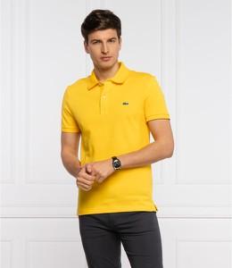 Żółta koszulka polo Lacoste w stylu casual z krótkim rękawem z bawełny