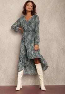 Zielona sukienka Renee z tkaniny z dekoltem w kształcie litery v