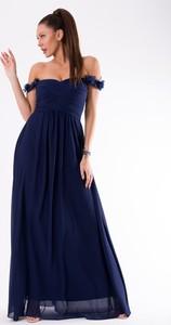 Niebieska sukienka Eva&Lola maxi z krótkim rękawem hiszpanka