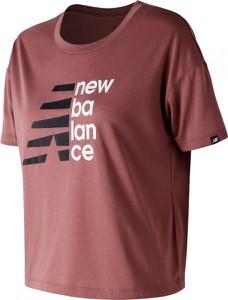 Fioletowa bluzka New Balance z okrągłym dekoltem z krótkim rękawem w stylu casual