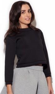 Czarna bluzka Katrus z okrągłym dekoltem z długim rękawem