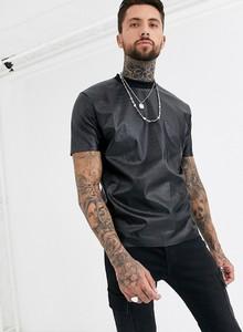 Czarny t-shirt Asos Design ze skóry z krótkim rękawem