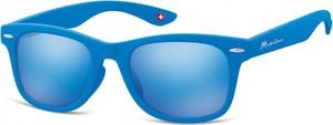 Stylion Okulary przeciwsłoneczne Lustrzanki dziecięce nerdy wayfarer Montana 965C niebieskie matowe