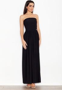 Czarna sukienka Katrus z bawełny maxi