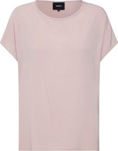 Różowa bluzka Object z okrągłym dekoltem z krótkim rękawem