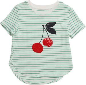 Zielona bluzka dziecięca Gap z krótkim rękawem z bawełny