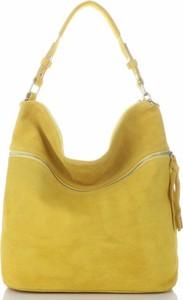 Żółta torebka GENUINE LEATHER w młodzieżowym stylu duża