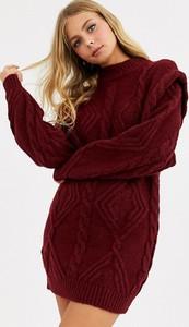 Czerwona sukienka Asos Design mini z długim rękawem