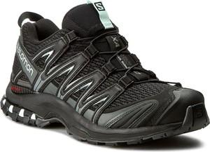 Czarne buty sportowe Salomon w sportowym stylu z płaską podeszwą sznurowane