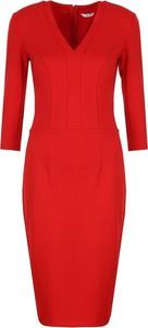 Czerwona sukienka Colett z dekoltem w kształcie litery v