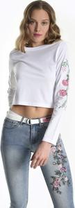 T-shirt Gate w stylu casual z okrągłym dekoltem z długim rękawem