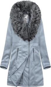 Niebieska kurtka Goodlookin.pl w stylu casual długa z zamszu