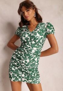 Zielona sukienka Renee z krótkim rękawem z dekoltem w kształcie litery v
