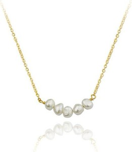Ania Kruk Naszyjnik ARIEL srebrny pozłacany z naturalnymi perłami