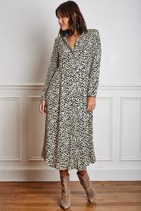 Sukienka Vanille & Chocolat z dekoltem w kształcie litery v