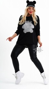 Czarna bluzka Sklep XL-ka z bawełny z okrągłym dekoltem