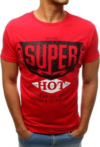 Czerwony t-shirt Dstreet w młodzieżowym stylu z nadrukiem z bawełny