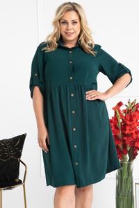 Zielona sukienka KARKO w stylu casual z kołnierzykiem szmizjerka