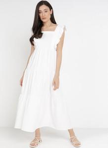 Sukienka born2be z okrągłym dekoltem maxi z krótkim rękawem
