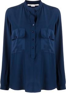 Niebieska bluzka Stella McCartney z dekoltem w kształcie litery v z jedwabiu z długim rękawem
