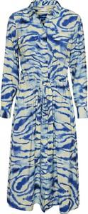 Niebieska sukienka InWear koszulowa z długim rękawem z kołnierzykiem