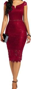 Czerwona sukienka Kendallme z okrągłym dekoltem midi z krótkim rękawem