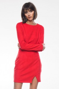 Czerwona sukienka forseti.net.pl w stylu casual z okrągłym dekoltem mini