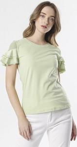 Zielona bluzka born2be z krótkim rękawem w stylu casual z okrągłym dekoltem