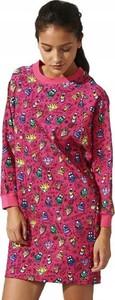 Różowa sukienka Adidas mini prosta