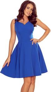 Niebieska sukienka NUMOCO mini z dekoltem w kształcie litery v rozkloszowana