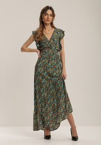 Granatowa sukienka Renee maxi z krótkim rękawem