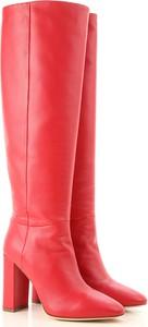 Czerwone kozaki Twin Set By Simona Barberi na zamek ze skóry